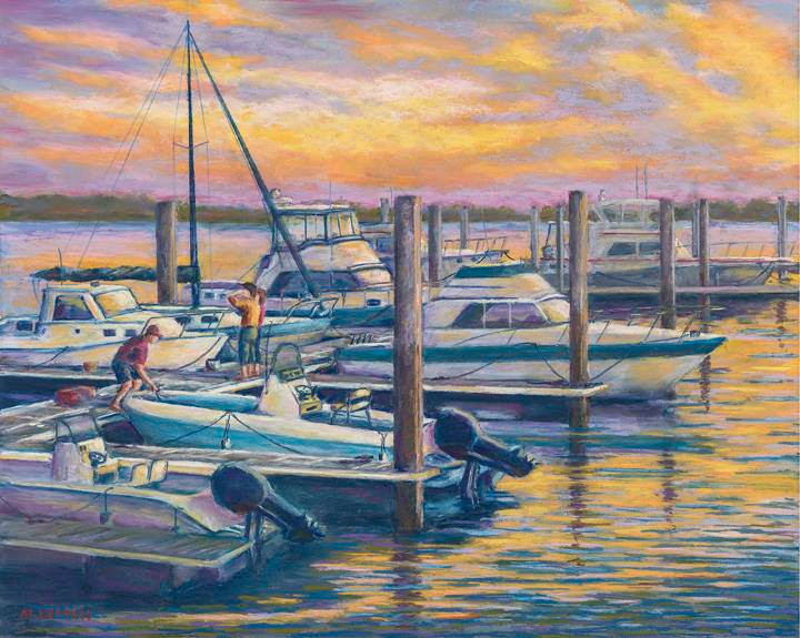 "Pastel Painting ""Marina Sunset"" by Al Leitch"