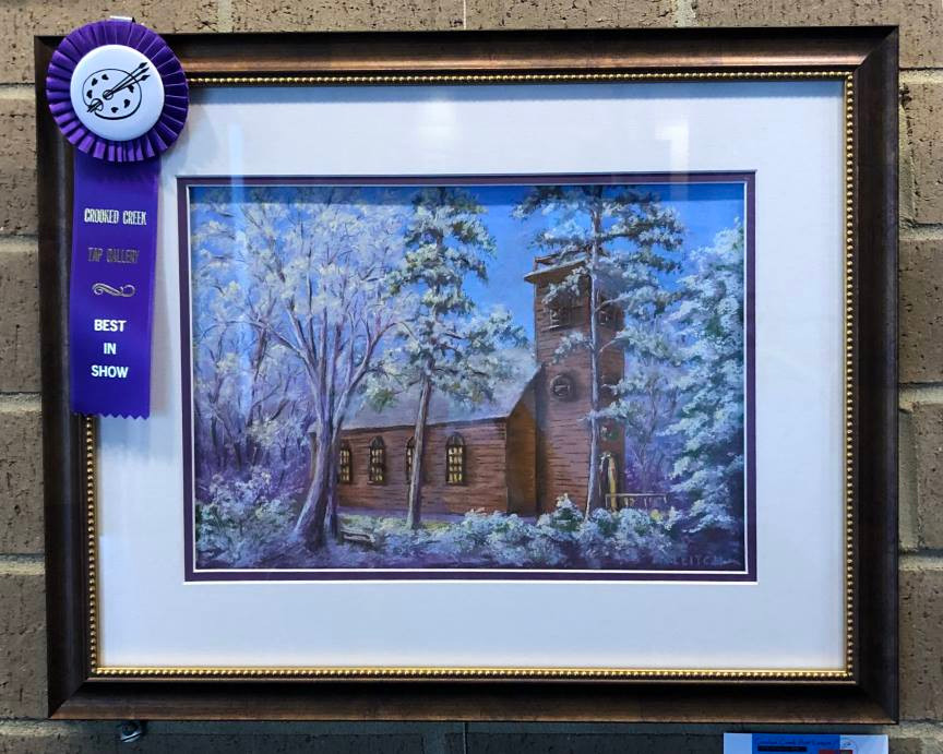 """Pastel Painting: """"Little Brown Church in the Vale"""" by Al Leitch with ribbon"""