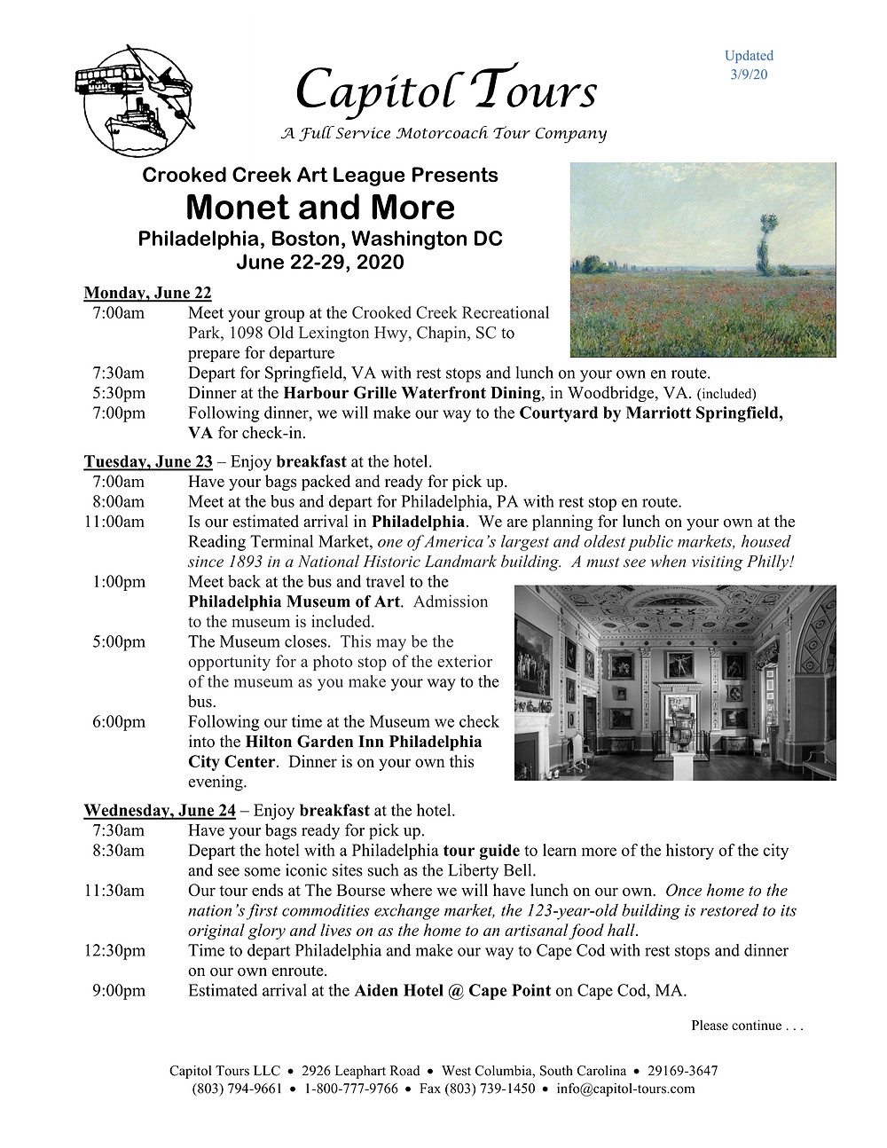 Monet and More Tour - Page 1