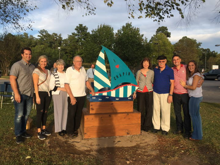 "Photo of Donors with the artist, Roger Buenzow, with ""Serenity"""