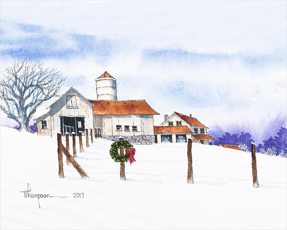 "Watercolor Painting: ""Christmas Barn"" by Tommy Thompson"