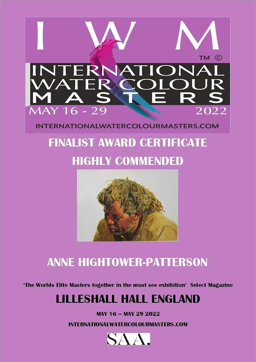 International Watercolour Masters Announcement of Finalist Award for Anne Hightower Patterson White