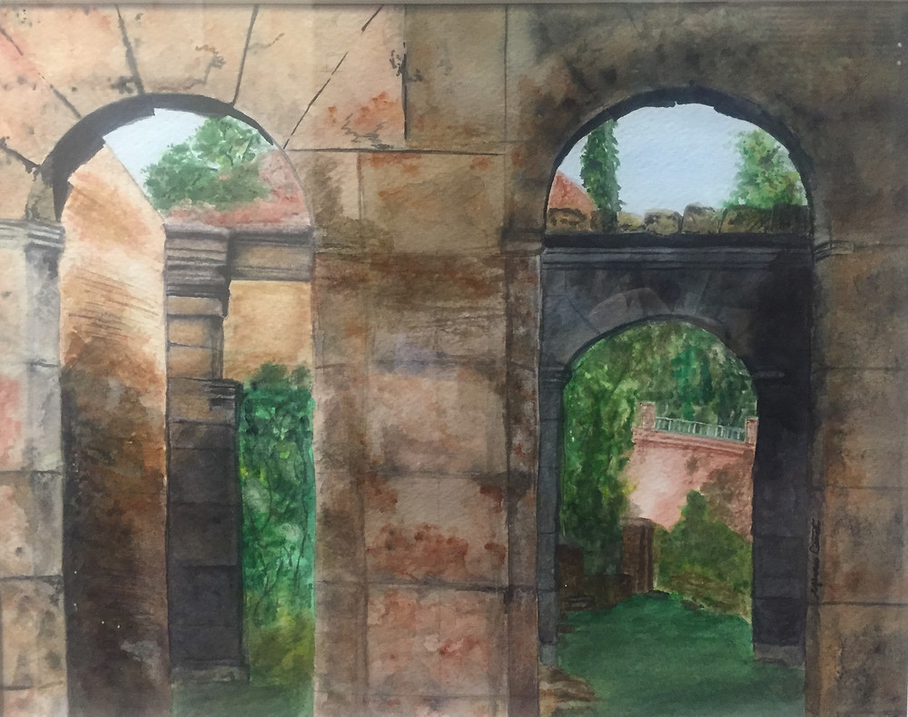 "Watercolor painting ""Roman Courtyard"" by Maureen Carter"