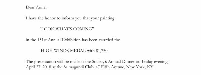 Notification Award: High Winds Medal at AWS