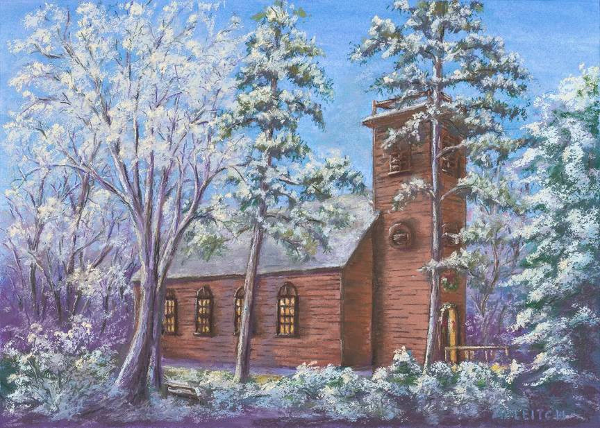 """Pastel Painting: """"Little Brown Church in the Vale"""" by Al Leitch"""