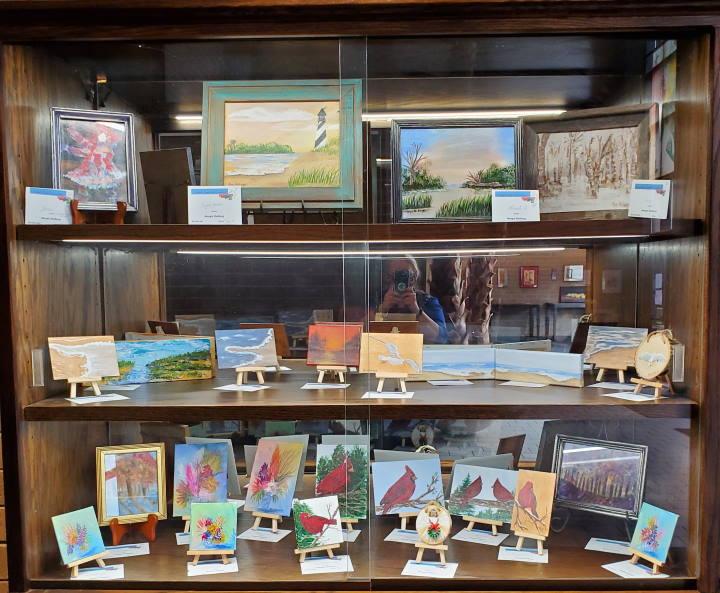 Photo of artwork display by Margie Shelburg