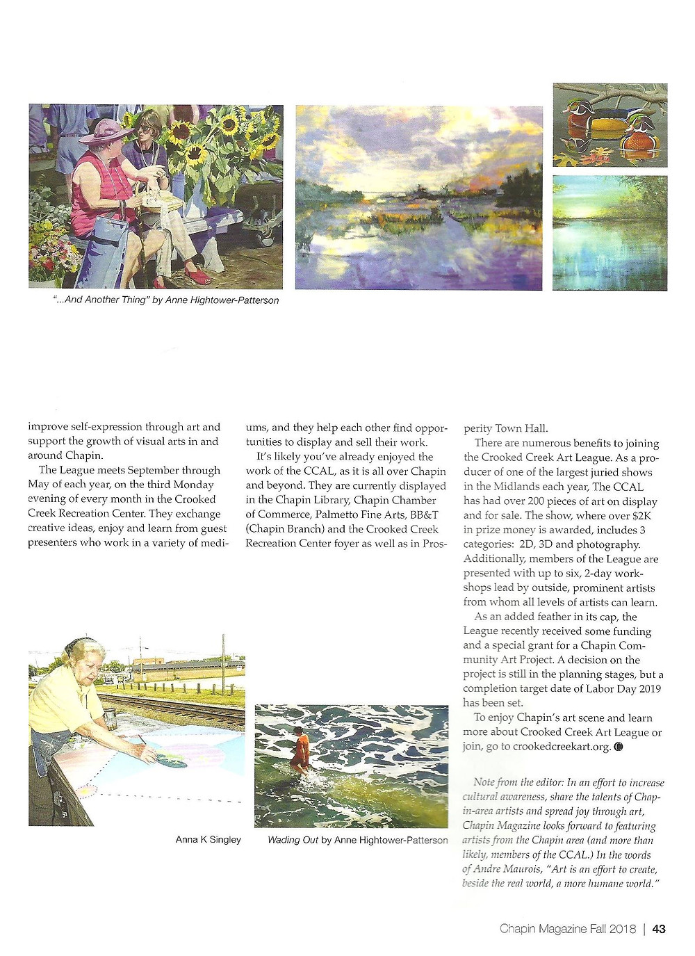 Article in Chapin Magazine - Page 1