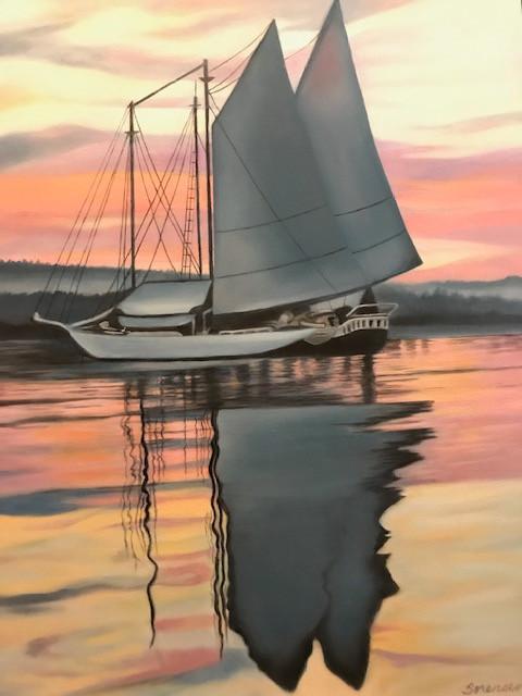 "Painting: ""Sails at Dusk"" by Roberta ""Bobbi"" Sorensen"