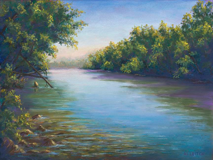 "Pastel Painting ""Saluda Shoals"" by Al Leitch"