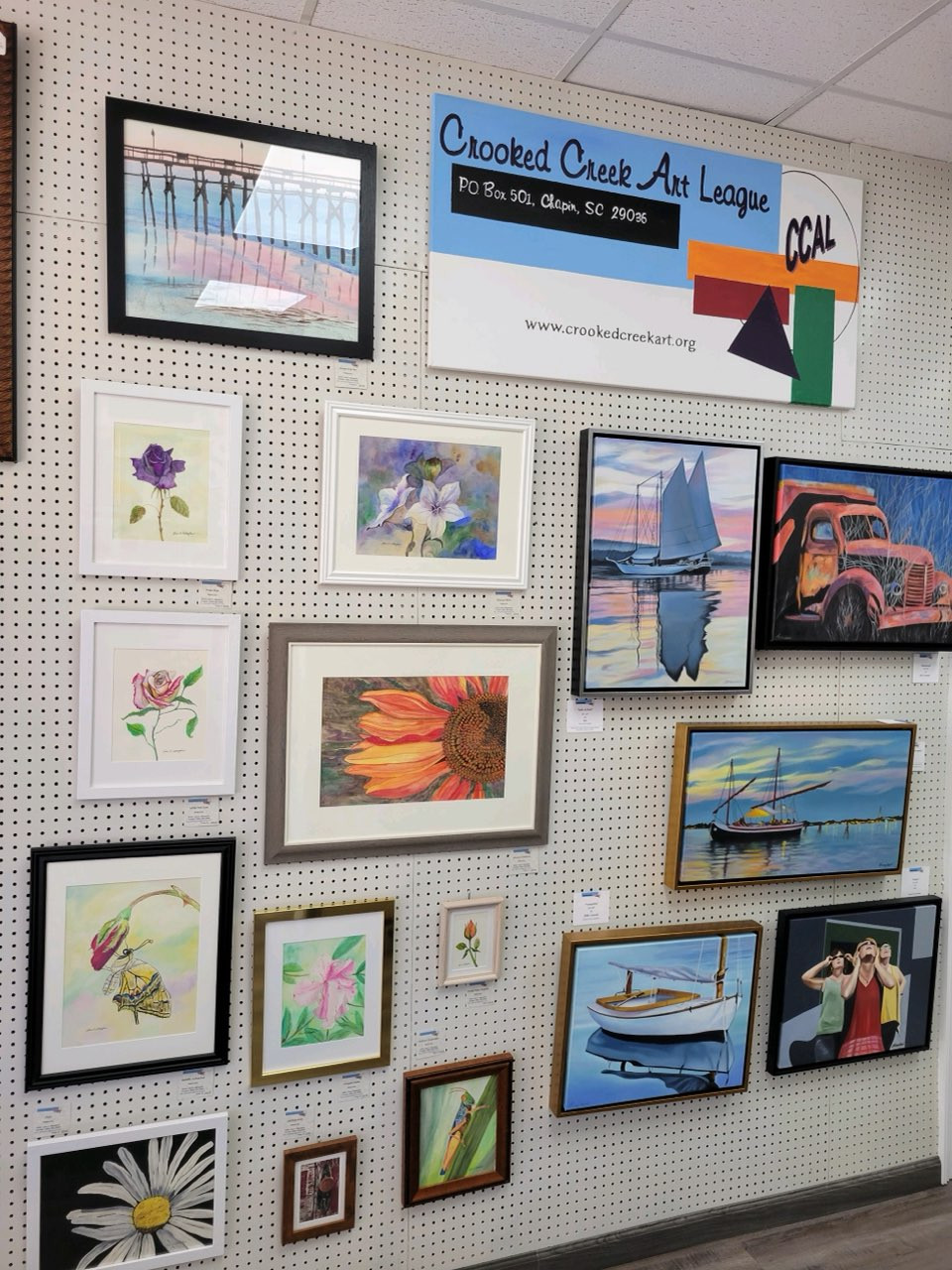 Photo of CCAL Gallery display at Palmetto Fine Arts