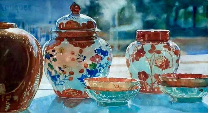 """""""Antiques"""" Watercolor painting by Anne Hightower Patterson White"""
