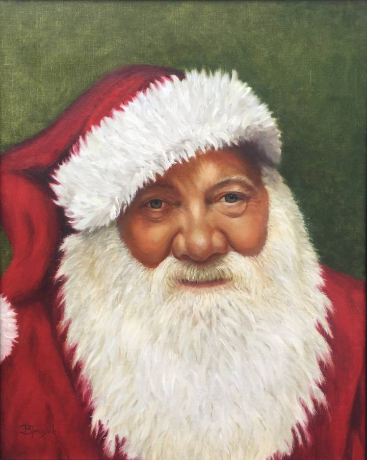 "Oil Painting ""Jolly Old Elf"" by Barbara Teusink"