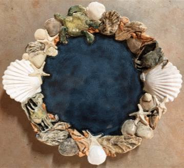 """Seashell Platter"", ceramic artwork by Jane Couch-Osmelowski"