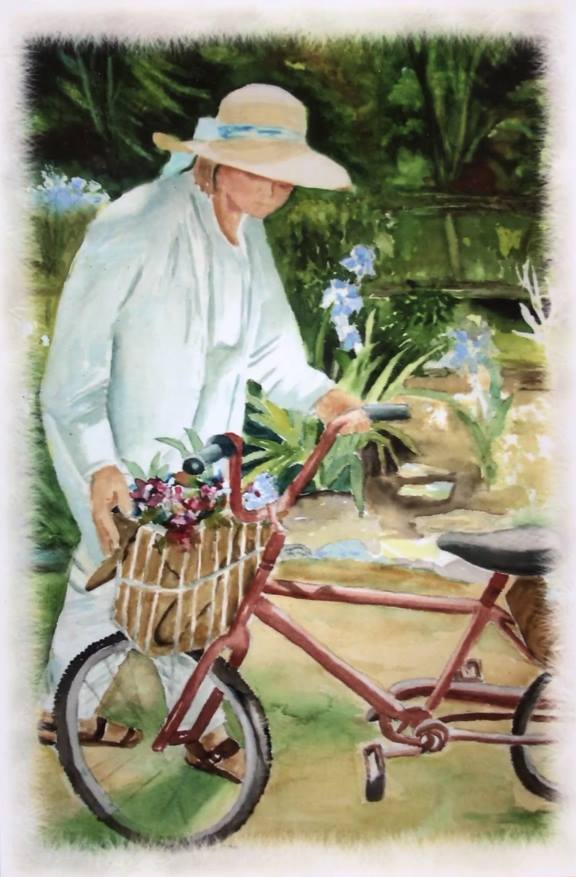 Woman with Bicycle.Ruth DiMirra