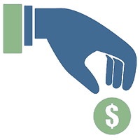 Hand donating coin icon