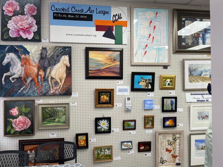 Photo of exhibit at Palmetto Fine Arts