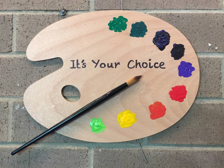 """Photo of Artists Palette labeled """"It's Your Choice"""""""