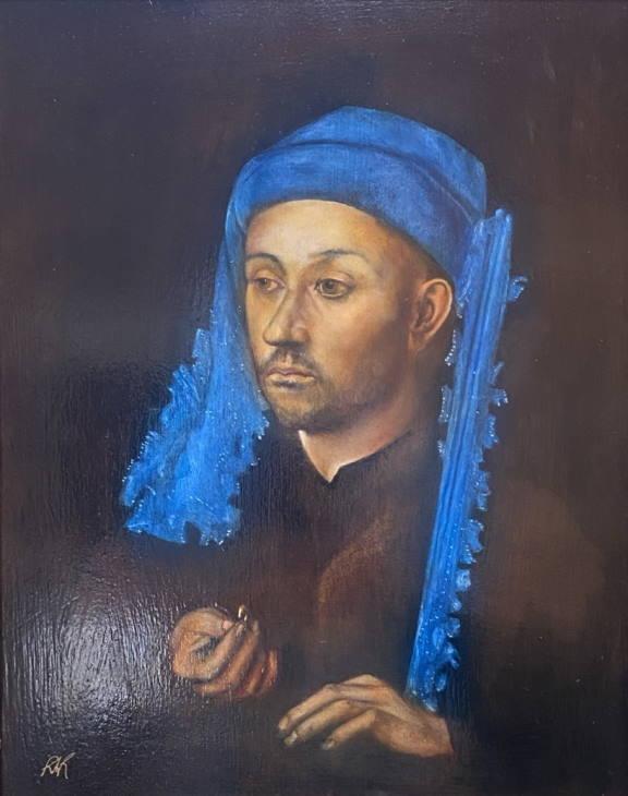 Man in Blue Chaperon by Jan Van Eyck