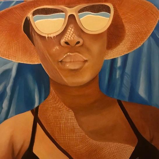 """Sunscreen"", oil painting by Bobbi Sorensen"