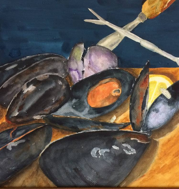 "Watercolor Painting ""A Feast of Mussels"" by Sandra Oliver"