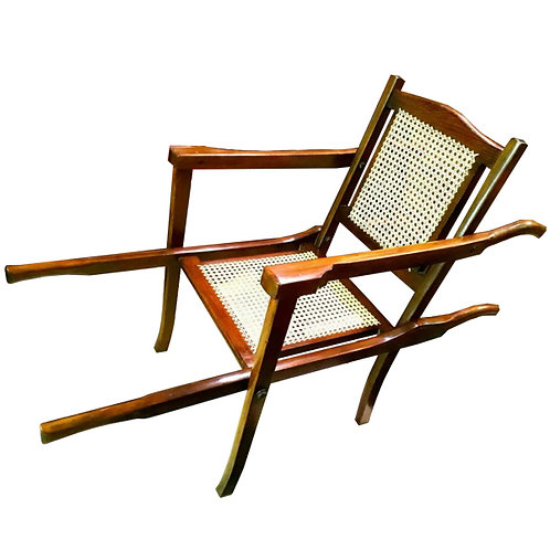 Vintage French style rattan Bergere Folding Chair Rickshaw 1