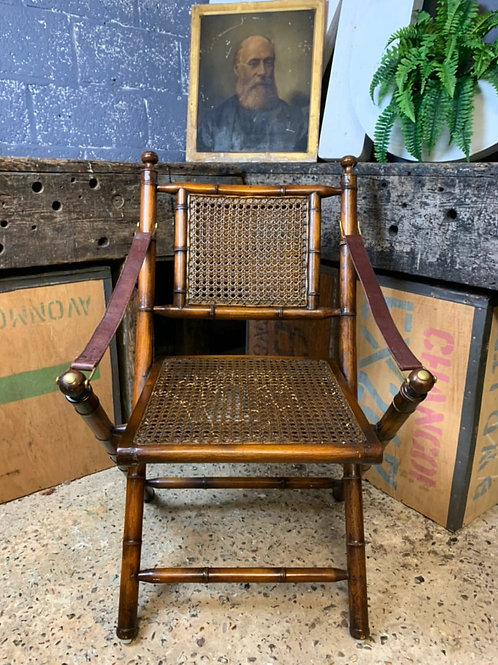 Faux Bamboo Carved Hardwood Folding Campaign Chair