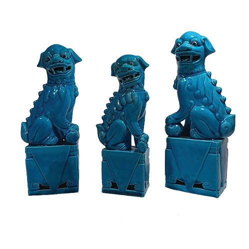 Vintage set of Chinese Foo Fu Dogs Lions Figures Turquoise blue