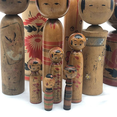 hand-made traditional Kokeshi dolls