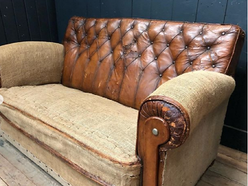 Fine Quality Art Deco Hand Dyed Brown Leather English Sofa