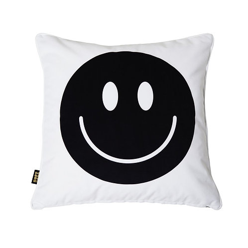 Happy Faces Cushion Black White Big 1