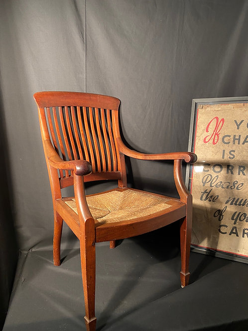 Victorian Rush Seat Carver Chair