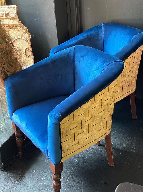 Pair Of Blue Velvet 20th century Tub Chairs