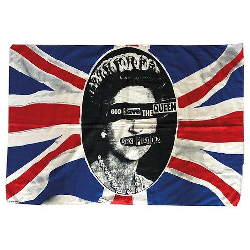 Sex Pistols Jamie Reid GSTQ Rare ORIGINAL Official Licensed Flag COA 1