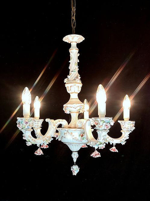 Stunning Capodimonte chandelier signed by the maker.