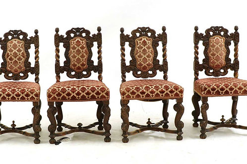 A set of four Continental walnut chairs, late 19th century