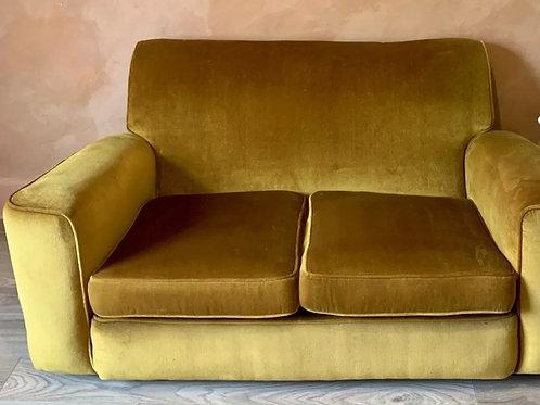 Golden Mustard Mid-Century 2-Seater Brushed Velvet Sofa