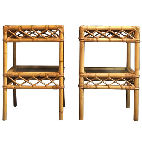 Pair of Mid-Century Bamboo Bedside Tables with Glass Tops 1
