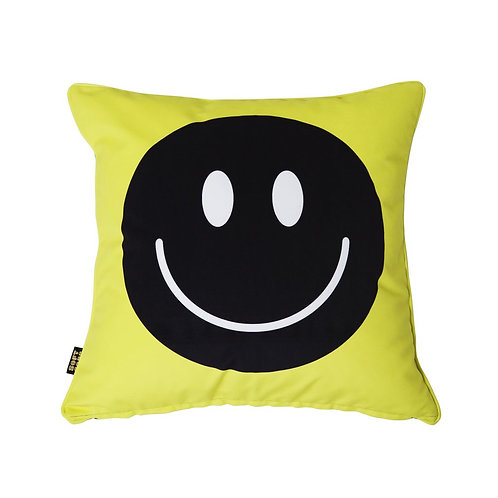 Happy Faces Cushion Acid Yellow Black Big 1