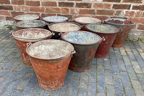 Vintage Metal Fire  / Sand Buckets