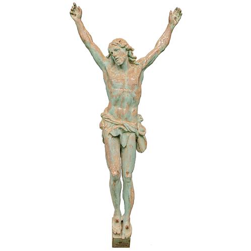 French Antique Cast Iron Corpus Crucifix of Jesus Circa 1900 1