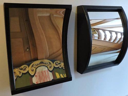 Wooden ebonised fairground distortion mirrors