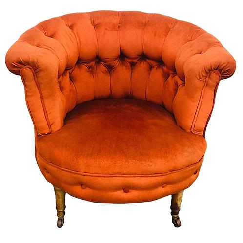 Burnt Orange Velvet Single Seater Tub Chair 1