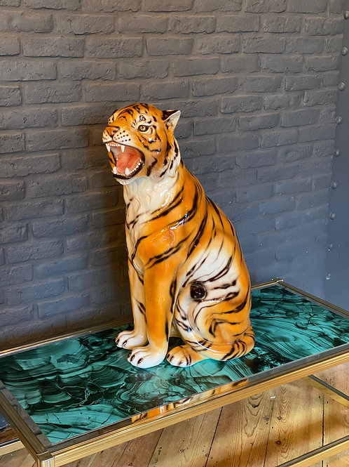 """Faience"" Ceramic tiger, hand-decorated."