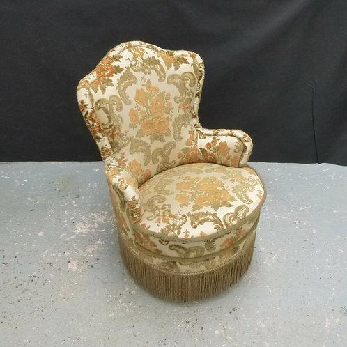 Danish Green Floral Velour Tub Lounge Chair