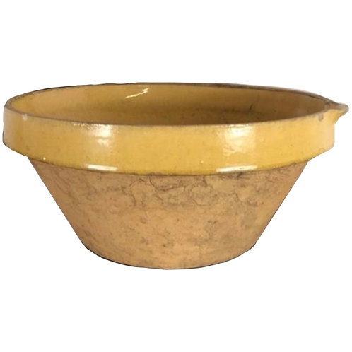 19th Century French Terracotta Glazed Pale Yellow Bowl 1
