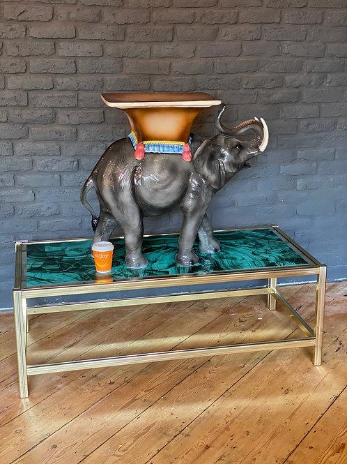 "Hand decorated ""Faience"" ceramic elephant."