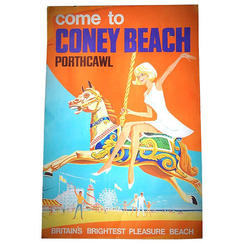 Coney Beach Porthcawl Wales Lithograph Poster 1