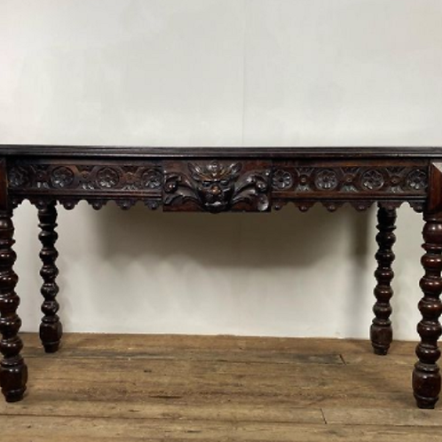 Antique Green Man Carved Oak Desk / Table