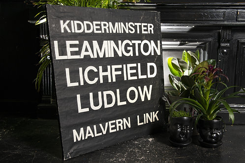 A Framed Canvas Section Of A Bus Destination Blind. Kidderminster Etc