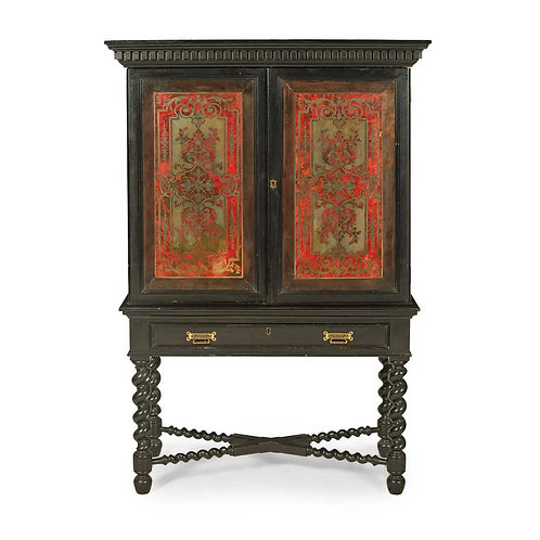 Ebonised Boulle Marquetry Collectors Cabinet-on-stand 19th Century